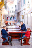 Tourists family relaxing Royalty Free Stock Image