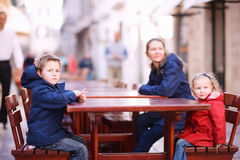 Tourists family relaxing Royalty Free Stock Photo