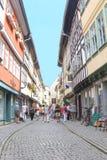 Sightseeing at the historic Merchants Bridge, Erfurt, Germany  Royalty Free Stock Image