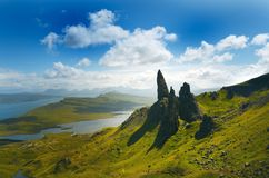 Tourists favourite place in Scotland - Isle of Skye. Very famous castle in Scotland called Eilean Donan castle. Scotland green nat. Ure. Top of the mountains royalty free stock photography