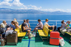 Tourists on ferry at the Croatian coast near Split Stock Image