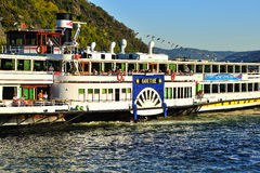 Tourists on ferry travelling on the Mosel river Royalty Free Stock Photos