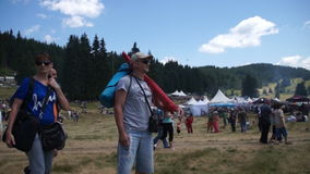 Tourists at the festival in 2015 Rozhen in Bulgaria stock footage