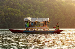 Tourists on Fewa lake  in Pokhara, Nepal. Stock Photography