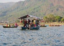 Tourists on Fewa lake  in Pokhara, Nepal. Stock Images