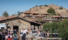 Tourists at Fikardou traditional old village cyprus Stock Images