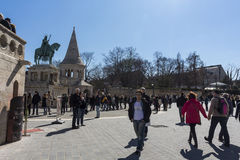 Tourists at the Firsherman's Bastion in Budapest, Hungary Royalty Free Stock Photography