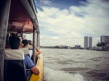 Tourists float in a boat on the river against the background of the horses in Thailand royalty free stock photography