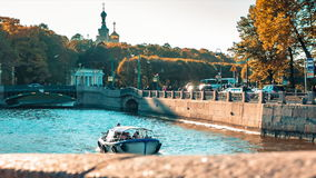 Tourists Float on a Boat Tour. On the canals of St. Petersburg stock footage