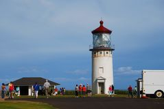Lighthouse Kauai Hawaii with Crowd Tourists Stock Photography