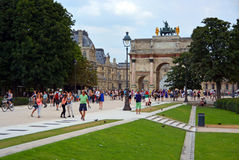 Tourists Flock to The Louvre on a Hot Summer Evening in Paris Fr Royalty Free Stock Photography