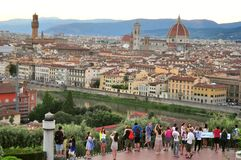 Tourists in Florence city, Italy Stock Images
