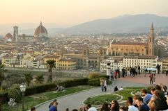 Tourists in Florence, Italy stock images