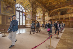 Tourists in Fontainbleau palace stock photography