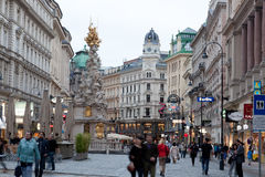 Tourists on foot Graben Street in Vienna Stock Photos