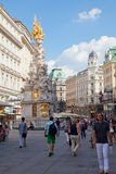 Tourists on foot Graben Street in Vienna Royalty Free Stock Image