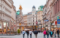Tourists on foot Graben Street in Vienna. Royalty Free Stock Photo