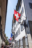 Tourists on foot Graben Street in Zurich Royalty Free Stock Images