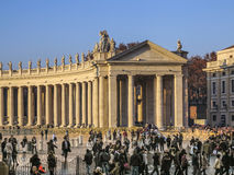 Tourists on foot Saint Peter's Square in Vatican Royalty Free Stock Images