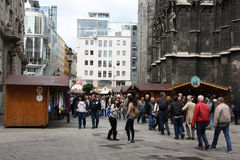 Tourists on foot street in Vienna. Stock Image