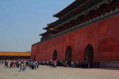 Tourists at the Forbidden City in China Royalty Free Stock Photos