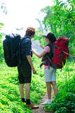 Tourists in the forest Stock Photography