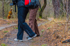 Tourists in a  forest Royalty Free Stock Photos