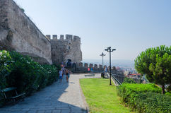 Tourists at the fortress walls in Thessaloniki, Greece Royalty Free Stock Image