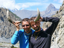 Tourists found and trying yaks horns in Bhraka village, Nepal Stock Image