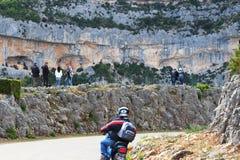 Tourists in French gorges de la Nesque Stock Photos
