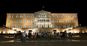 Tourists in front of Athens Parlianment Square. Royalty Free Stock Photos