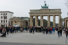 Tourists in front of the Brandenburg Gate. Stock Photography
