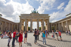 Tourists in front of Brandenburg Tor, Berlin Royalty Free Stock Image