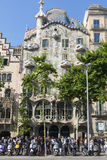 Tourists in front of the Casa Batllo, designed by Gaudi. Barceloa Royalty Free Stock Photography