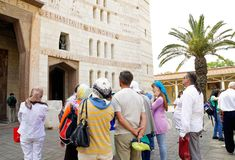 Tourists in front of the Cathedral of the Annuncia Royalty Free Stock Images