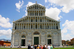 Tourists in front of the Cathedral in Pisa, Italy Royalty Free Stock Images