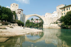 Tourists in front of the famous bridge at Mostar Stock Photography