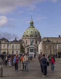 Tourists in front of Frederik`s Church, Copenhagen, Denmark. Stock Photography