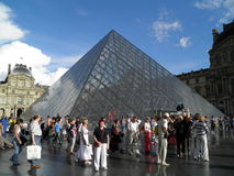 Tourists in front of the Louvre Museum in Paris Royalty Free Stock Photography