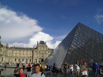 Tourists in front of the Louvre Museum in Paris Stock Image