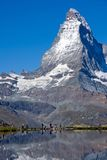 Tourists in front of the Matterhorn Royalty Free Stock Image