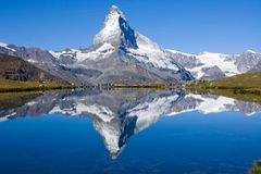 Tourists in front of the Matterhorn royalty free stock photo