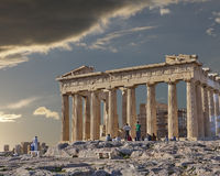 Tourists in front of Parthenon ancient temple Stock Photo
