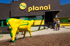 Tourists in front of Planai bike and ski areal on August 15, 2017 in Schladming, Austria. Royalty Free Stock Image