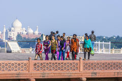 Tourists in front of the Taj Mahal in Agra, India Stock Photo