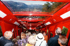 Tourists in the funicular railway to the top mount Generoso on S Royalty Free Stock Photography