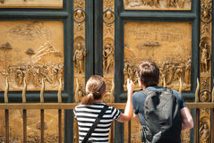 Tourists at the Gates of Paradise, Florence, Italy Royalty Free Stock Image