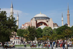Tourists gather in front of Hagia Sophia Stock Photo