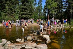 Tourists gather at the headwaters of the Mississippi River stock photos
