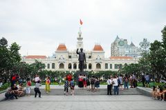 Tourists gather outside at The Monument of President ho Chi Minh Statue Royalty Free Stock Photo